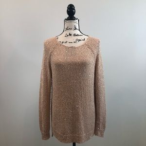 Chico's cream/coral sequin sweater